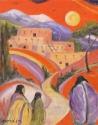 Red Sky with Pueblo