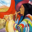 Flute Player with Traveling Companion