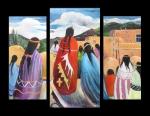 Pueblo Gathering (Triptych)