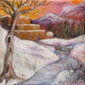 Sunset Pueblo in Snow
