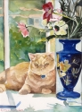 Cat with Blue Vase