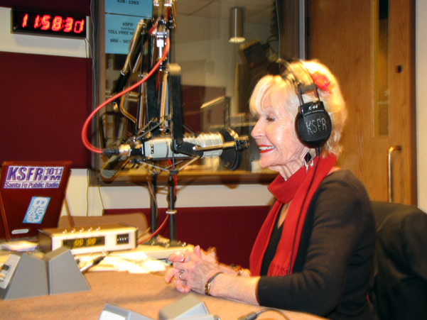 Marilu at KSFR studios in Santa Fe on live interview with Dick Gordon in North Carolina