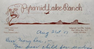 Pyramid Lake Ranch Letterhead, circa 1951